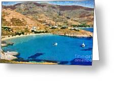 Psili Ammos Beach In Serifos Island Greeting Card