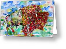 Psychedelic Buffalo Greeting Card