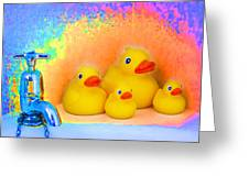 Psychedelic Ducks And Faucet Greeting Card