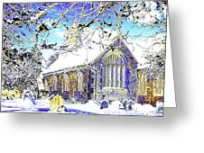 Psychedelic English Village Church In Winter Greeting Card