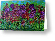 Psychedelic  Flower Garden Greeting Card