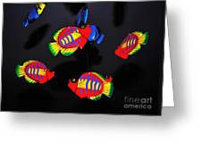 Psychedelic Flying Fish Greeting Card by Kaye Menner