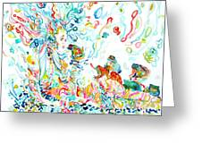 Psychedelic Goddess With Toads Greeting Card