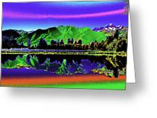 Psychedelic Lake Matheson Ner Zealand 3 Greeting Card
