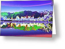 Psychedelic Lake Matheson New Zealand Greeting Card