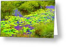 Psychedelic Lily Pads  Greeting Card