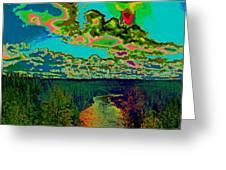 Psychedelic Skyline Over Spokane River #1 Greeting Card
