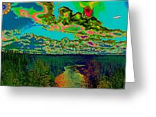 Psychedelic Skyline Over Spokane River #2 Greeting Card