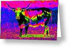 Psychedelic Texas Longhorn Greeting Card