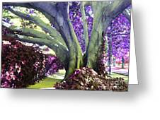 Psychedelic Purple Fuschsia Earthy Tree Street Landscape Los Angeles Cool Artistic Affordable Art Greeting Card