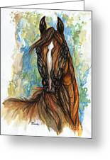 Psychodelic Chestnut Horse Original Painting Greeting Card