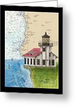 Pt Cabrillo Lighthouse Ca Nautical Chart Map Art Cathy Peek Greeting Card