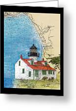 Pt Pinos Lighthouse Ca Nautical Chart Map Art Cathy Peek Greeting Card
