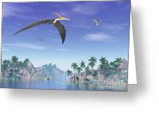 Pteranodon Birds Flying Above Islands Greeting Card