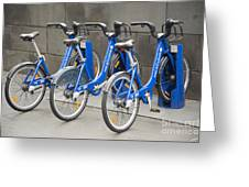 Public Shared Bicycles In Melbourne Australia Greeting Card