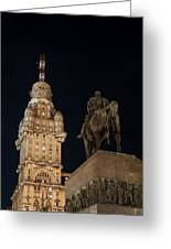 Public Statue And Skyscraper At Night Greeting Card