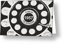 Public Telephone 1957 In Black And White Retro Greeting Card