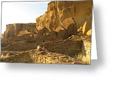 Pueblo Bonito And Cliff Greeting Card by Feva  Fotos