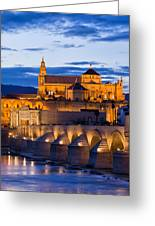 Puente Romano And Mezquita At Twilight In Cordoba Greeting Card