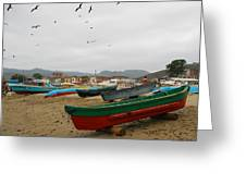 Puerto Lopez Beach And Boats Greeting Card