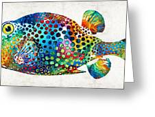 Puffer Fish Art - Puff Love - By Sharon Cummings Greeting Card