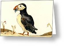 Puffin With Fishes Greeting Card