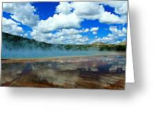 Puffy Clouds And Hot Springs Greeting Card