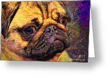 Pug 20130126v1 Greeting Card by Wingsdomain Art and Photography