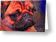 Pug 20130126v2 Greeting Card by Wingsdomain Art and Photography