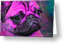 Pug 20130126v3 Greeting Card by Wingsdomain Art and Photography