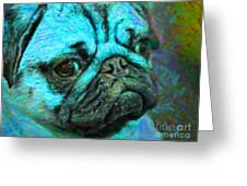 Pug 20130126v5 Greeting Card by Wingsdomain Art and Photography