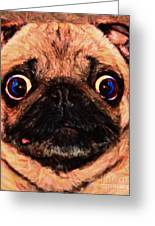 Pug Dog - Painterly Greeting Card by Wingsdomain Art and Photography