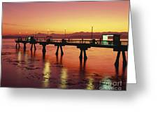 Puget Sound Olympic Mountains Fishing Pier Greeting Card
