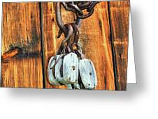 Pulley Hooks And Chain Greeting Card