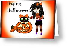 Pumpkin And Halloween Cat Greeting Card