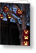 Pumpkin Escape Over Fence Greeting Card