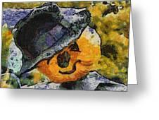 Pumpkin Face Photo Art 05 Greeting Card