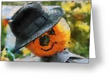 Pumpkin Face Photo Art 06 Greeting Card