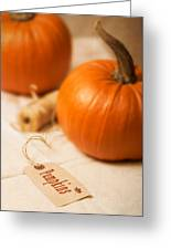 Pumpkin Label Greeting Card