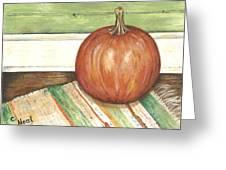 Pumpkin On A Rag Rug Greeting Card