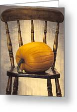 Pumpkin On Chair Greeting Card