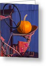 Pumpkin On Tractor Seat Greeting Card