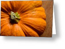 Pumpkin On Wooden Background Greeting Card