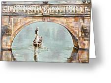 Punting On River Cam Under Clare Bridge Greeting Card