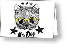 Puppy And Yellow Glasses Illustration Greeting Card