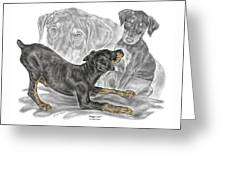 Puppy Love - Doberman Pinscher Pup - Color Tinted Greeting Card