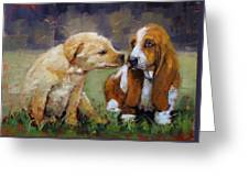 Puppy Love Greeting Card by Laura Lee Zanghetti