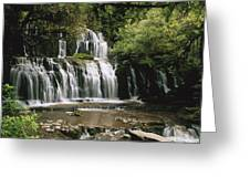 Purakaunui Falls And Tropical Greeting Card