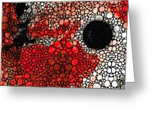 Pure Passion 2 - Stone Rock'd Red And Black Art Painting Greeting Card by Sharon Cummings