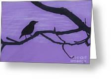 Purple - Bird - Silhouette Greeting Card